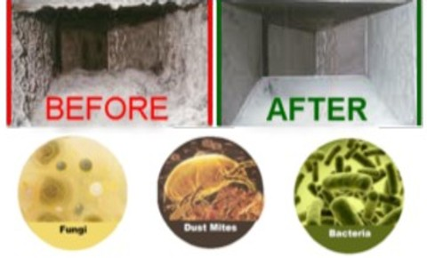 Air ducts before and after being cleaned of mold mildew and dust