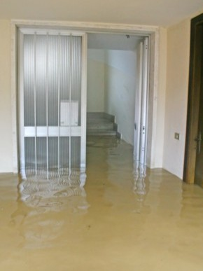 Water damage in house after flooding